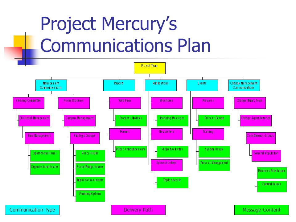 Project Mercurys Communications Plan Communication TypeDelivery PathMessage Content