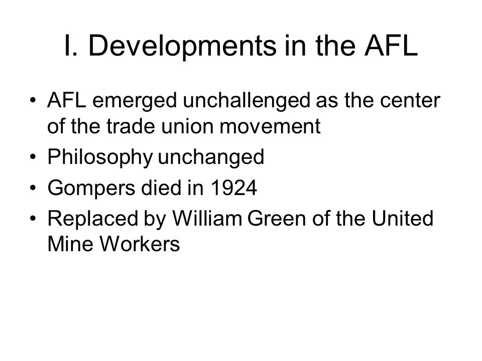 AFL and African-Americans AFL found it could do little to prevent discrimination by its affiliates Unions usually discriminated African-Americans often served as strike breakers