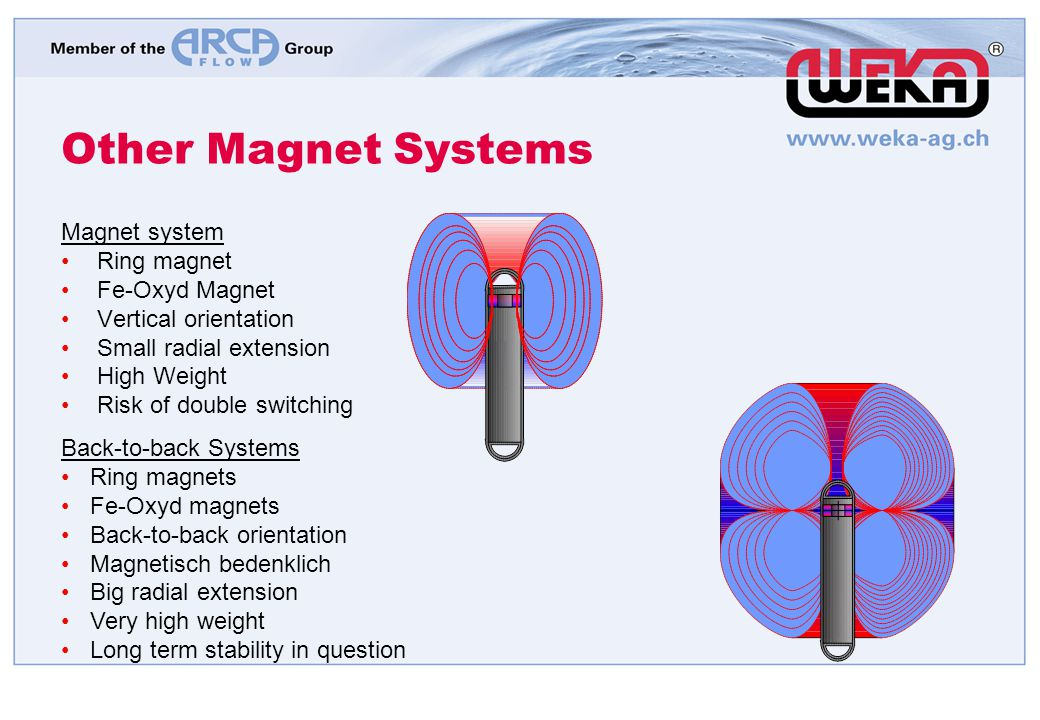 Other Magnet Systems Magnet system Ring magnet Fe-Oxyd Magnet Vertical orientation Small radial extension High Weight Risk of double switching Back-to