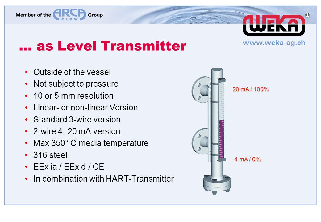 … as Level Transmitter 4 mA / 0% 4 mA / 0% 20 mA / 100% Outside of the vessel Not subject to pressure 10 or 5 mm resolution Linear- or non-linear Vers