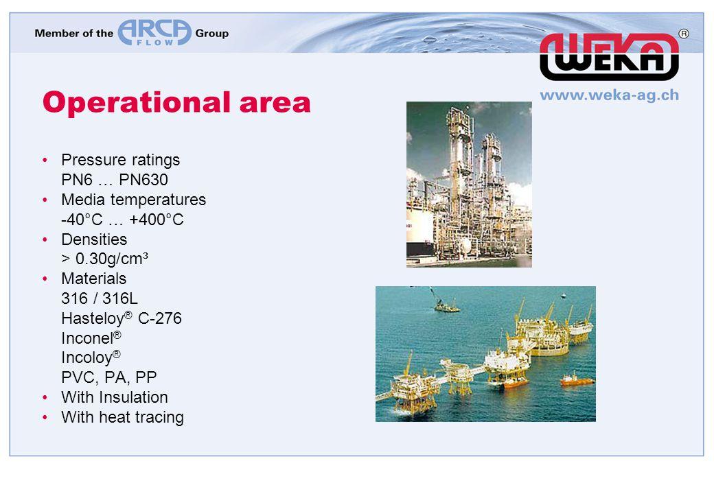 Operational area Pressure ratings PN6 … PN630 Media temperatures -40°C … +400°C Densities > 0.30g/cm³ Materials 316 / 316L Hasteloy ® C-276 Inconel ®