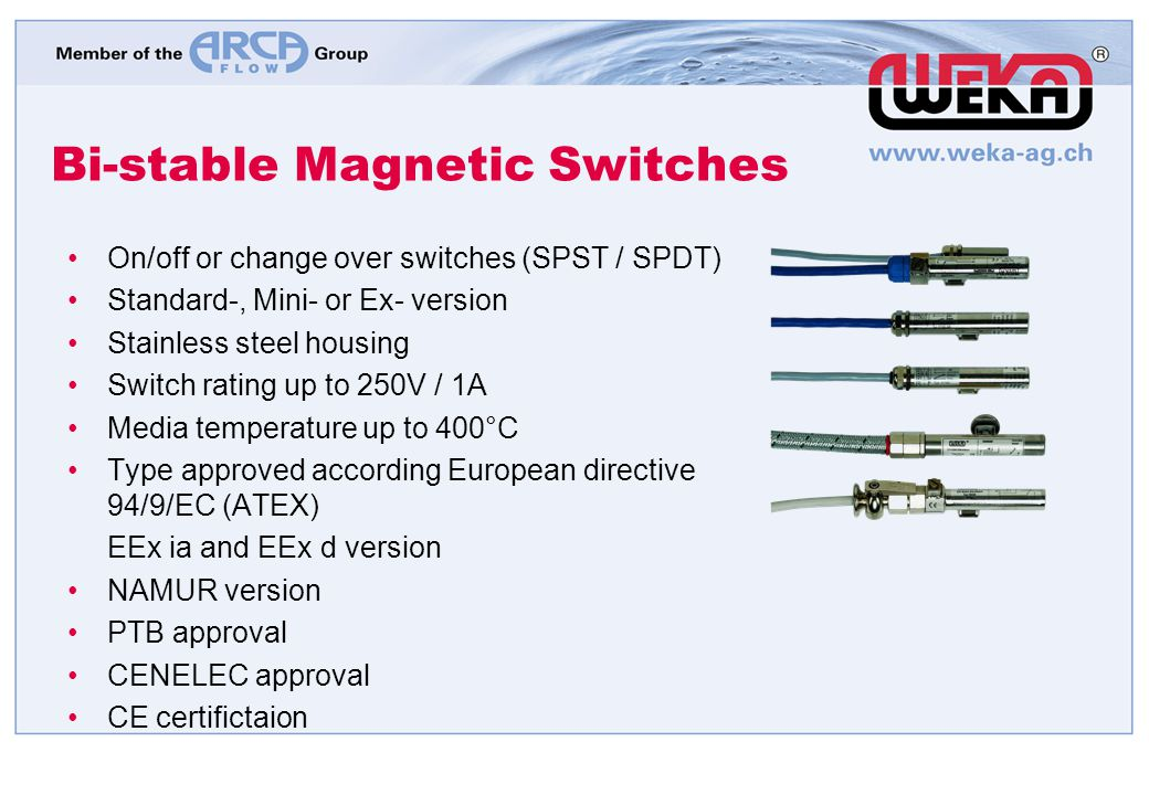 Bi-stable Magnetic Switches On/off or change over switches (SPST / SPDT) Standard-, Mini- or Ex- version Stainless steel housing Switch rating up to 2