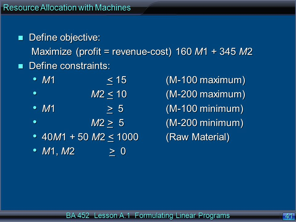 BA 452 Lesson A.1 Formulating Linear Programs 41 n Define objective: Maximize (profit = revenue-cost) 160 M M2 Maximize (profit = revenue-cost) 160 M M2 n Define constraints: M1 < 15 (M-100 maximum) M1 < 15 (M-100 maximum) M2 < 10 (M-200 maximum) M2 < 10 (M-200 maximum) M1 > 5 (M-100 minimum) M1 > 5 (M-100 minimum) M2 > 5 (M-200 minimum) M2 > 5 (M-200 minimum) 40M M2 < 1000(Raw Material) 40M M2 < 1000(Raw Material) M1, M2 > 0 M1, M2 > 0 Resource Allocation with Machines
