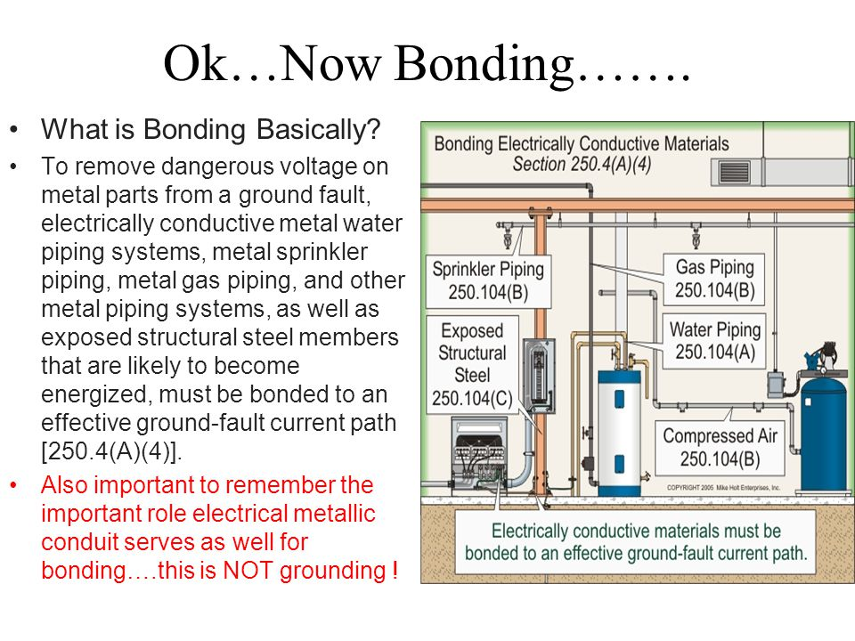 Ok…Now Bonding……. What is Bonding Basically? To remove dangerous voltage on metal parts from a ground fault, electrically conductive metal water pipin