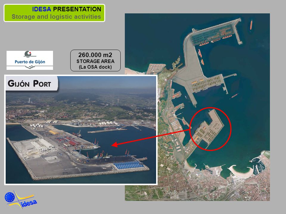 IDESA PRESENTATION Storage and logistic activities 260.000 m2 STORAGE AREA (La OSA dock)