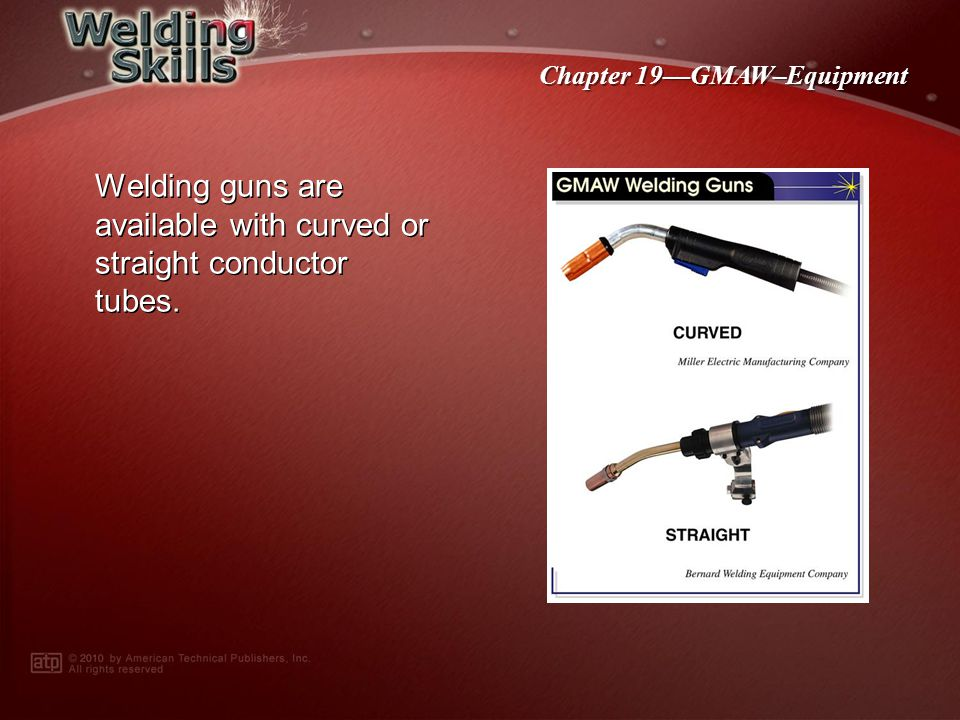 Chapter 19GMAW–Equipment Welding gun components include a handle with a conductor tube and trigger, a contact tip, a gas nozzle, a gas diffuser, and a