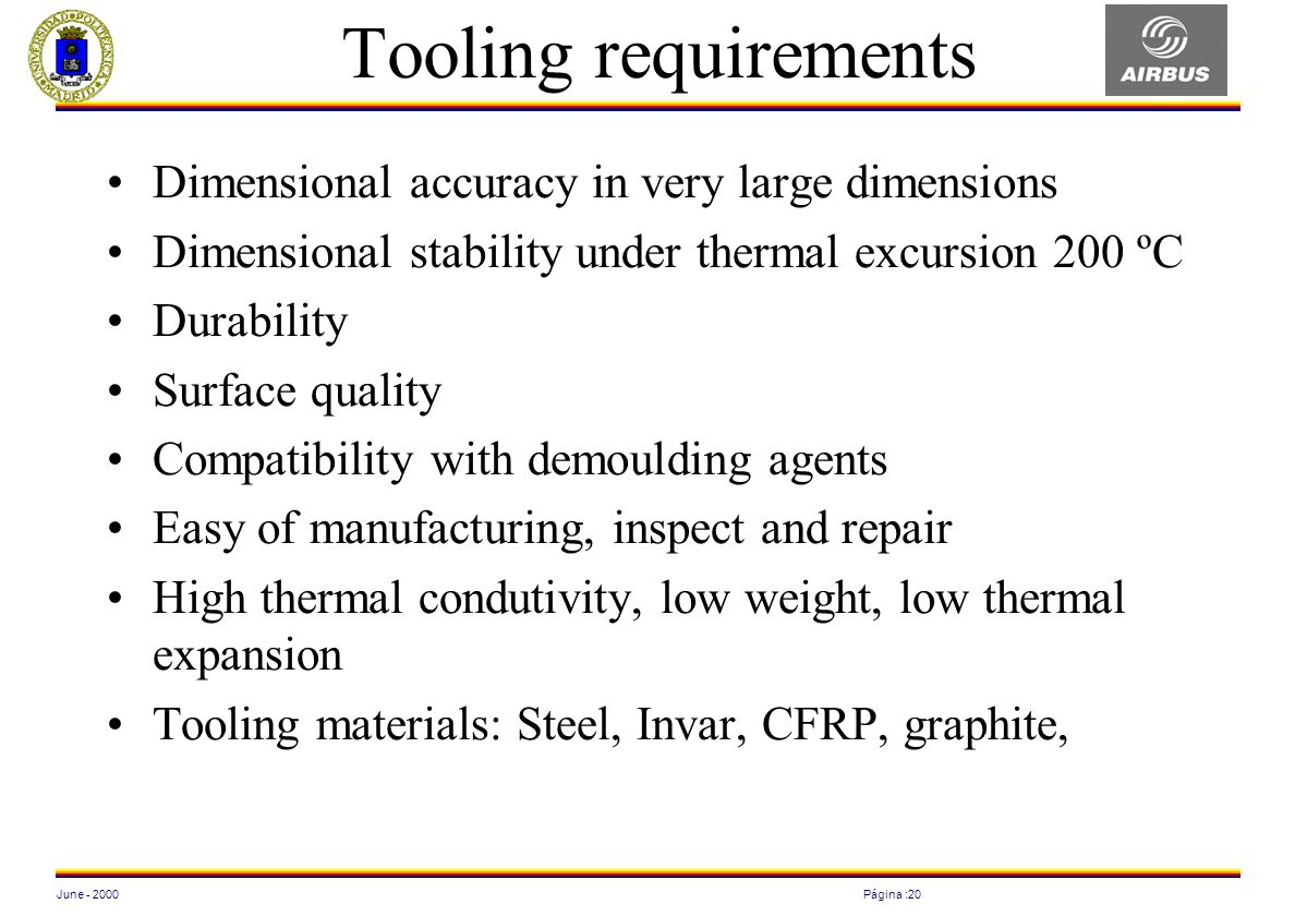 June - 2000Página :20 Tooling requirements Dimensional accuracy in very large dimensions Dimensional stability under thermal excursion 200 ºC Durabili