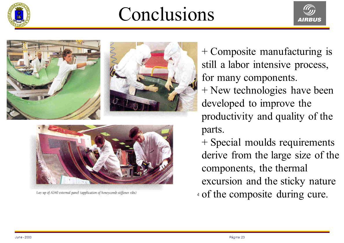 June - 2000Página :23 Conclusions + Composite manufacturing is still a labor intensive process, for many components. + New technologies have been deve