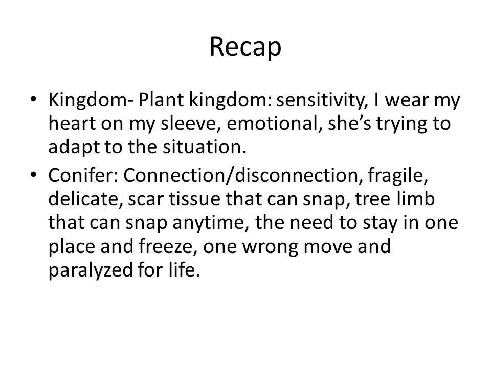 Recap Kingdom- Plant kingdom: sensitivity, I wear my heart on my sleeve, emotional, shes trying to adapt to the situation.
