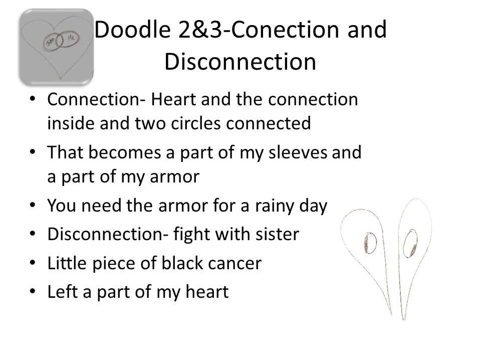 Doodle 2&3-Conection and Disconnection Connection- Heart and the connection inside and two circles connected That becomes a part of my sleeves and a part of my armor You need the armor for a rainy day Disconnection- fight with sister Little piece of black cancer Left a part of my heart