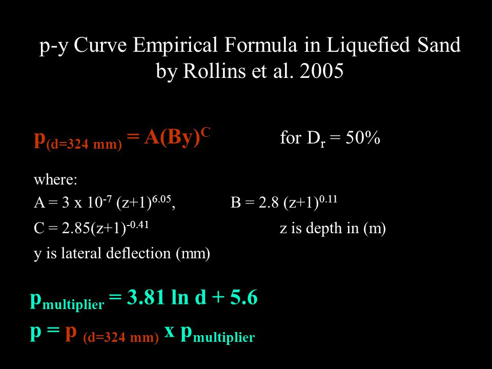 p-y Curve Empirical Formula in Liquefied Sand by Rollins et al. 2005 p (d=324 mm) = A(By) C for D r = 50% where: A = 3 x 10 -7 (z+1) 6.05,B = 2.8 (z+1