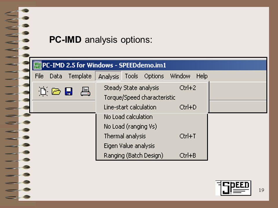 19 PC-IMD analysis options: