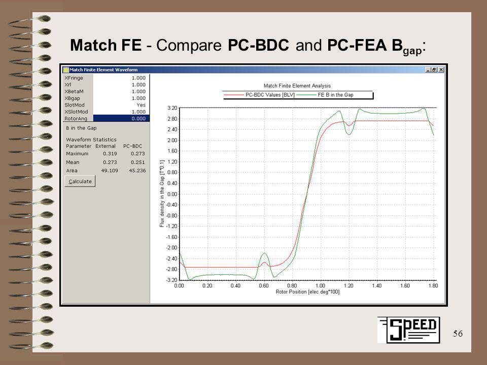 56 Match FE - Compare PC-BDC and PC-FEA B gap :