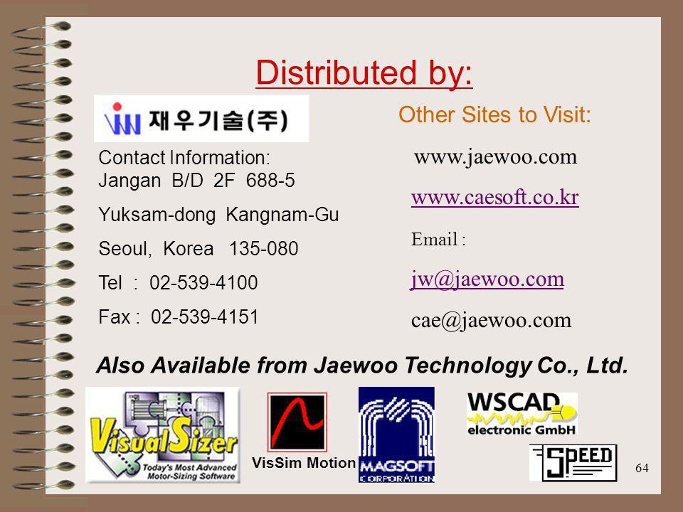 64 Distributed by: Contact Information: Jangan B/D 2F 688-5 Yuksam-dong Kangnam-Gu Seoul, Korea 135-080 Tel : 02-539-4100 Fax : 02-539-4151 Other Site