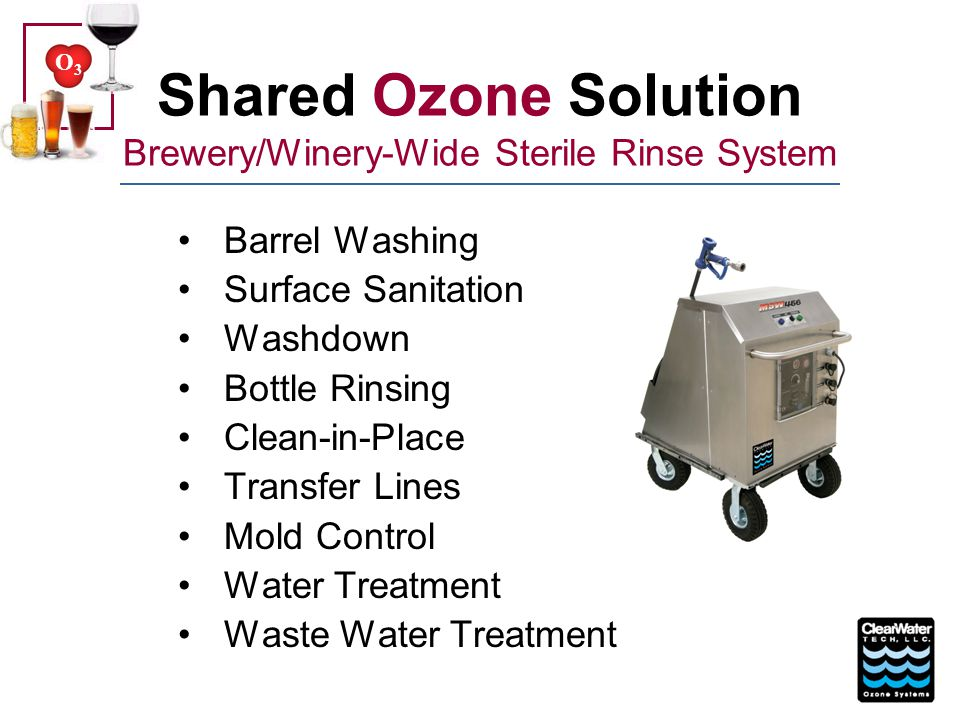 O3O3 Typical Fixed O 3 System CWT CD4000HO 45 grams per hour @ 6% 2 Sequal Workhorse 15C oxygen generators 30 SCFH total/90% purity Signet ORP controller Maintain 1,000 mV ORP 4-20 mA signal controlling ozone output Rosemount dissolved O 3 monitor