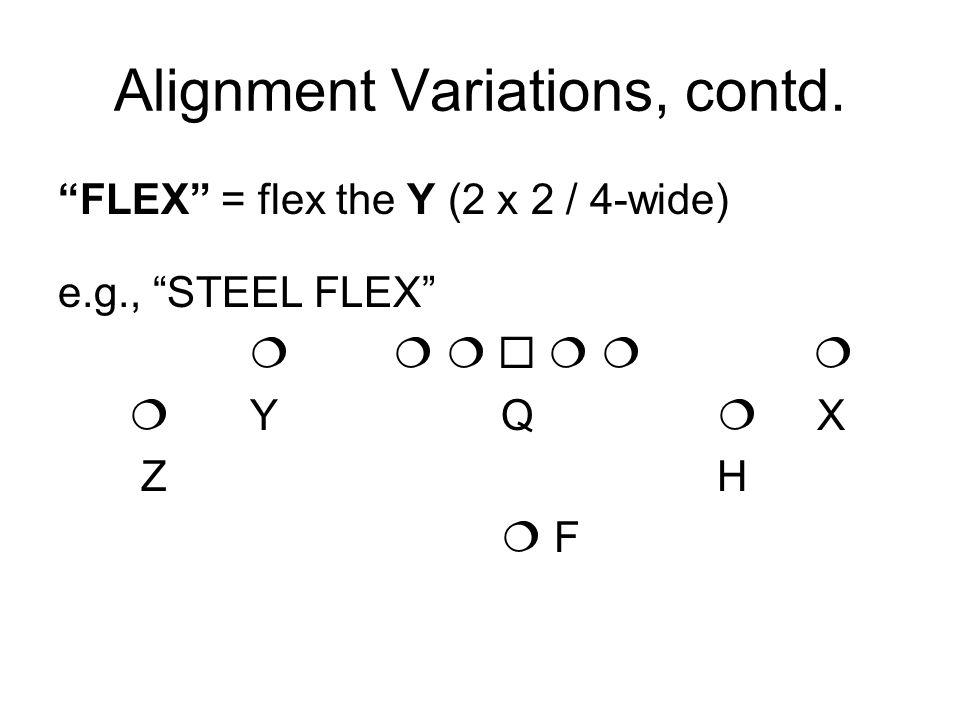 Alignment Variations, contd. FLEX = flex the Y (2 x 2 / 4-wide) e.g., STEEL FLEX Y Q X Z H F