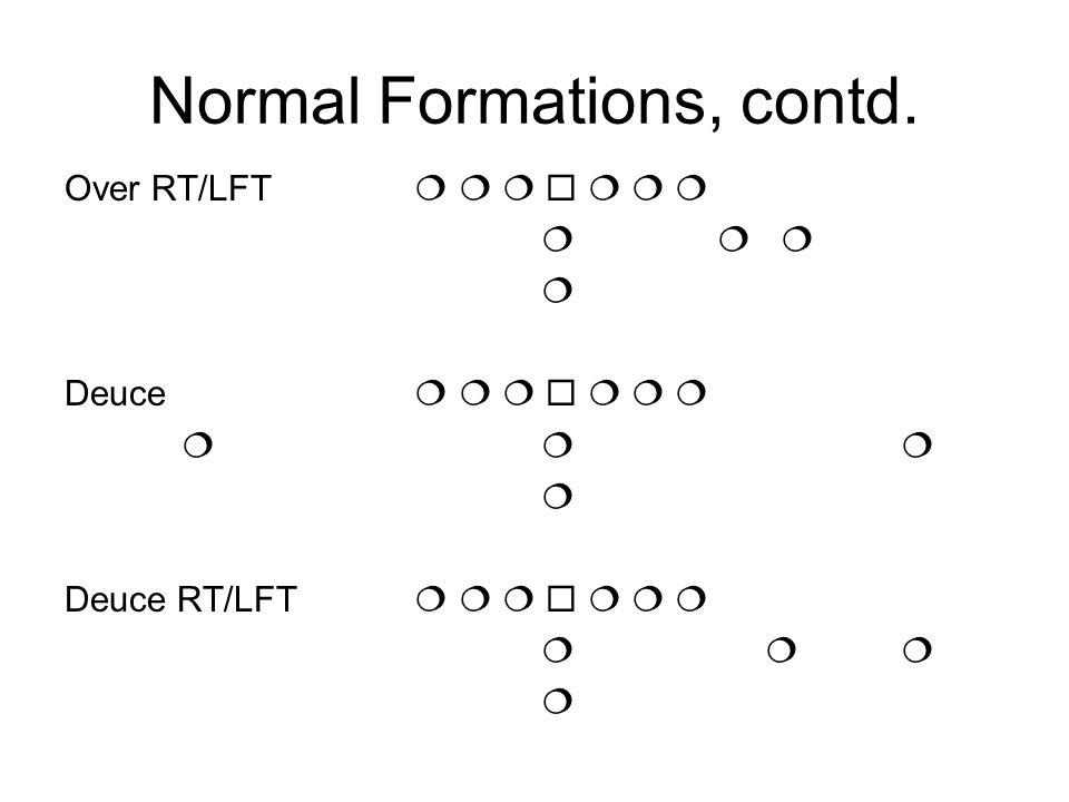 Normal Formations, contd. Over RT/LFT Deuce Deuce RT/LFT