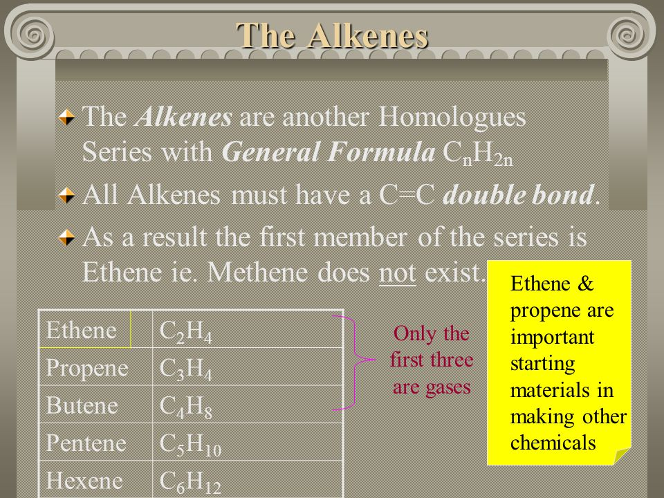 The Alkane members Name Molecular FormulaCommon Uses MethaneCH 4 Nat.Gas.Household heating & cooking EthaneC2H4C2H4 PropaneC3H6C3H6 Portable cooking a