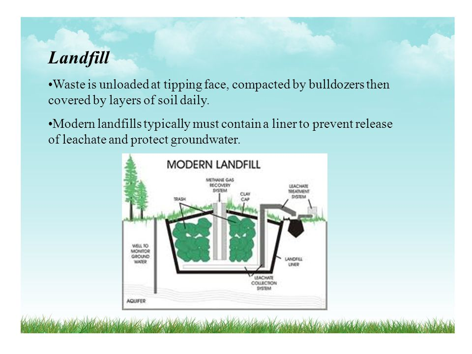 Landfill Waste is unloaded at tipping face, compacted by bulldozers then covered by layers of soil daily. Modern landfills typically must contain a li