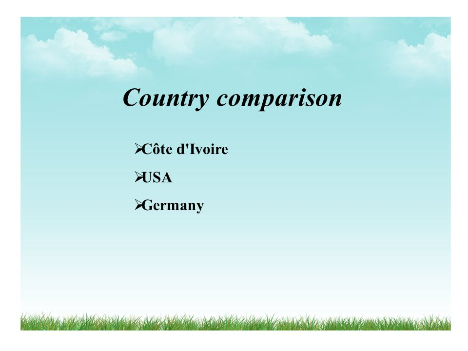 Country comparison Côte d'Ivoire USA Germany