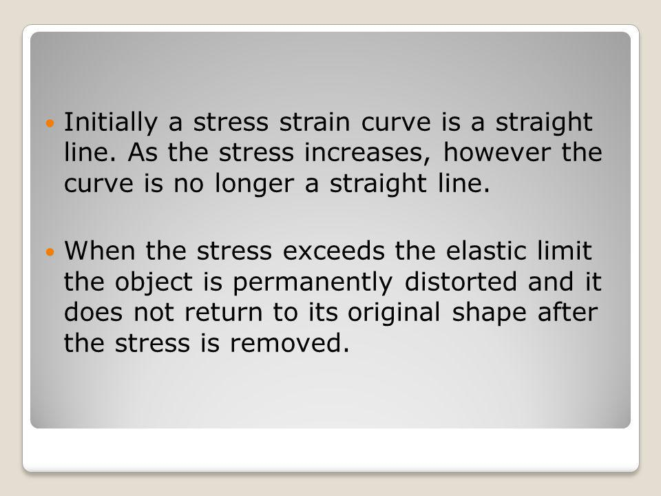 Initially a stress strain curve is a straight line. As the stress increases, however the curve is no longer a straight line. When the stress exceeds t