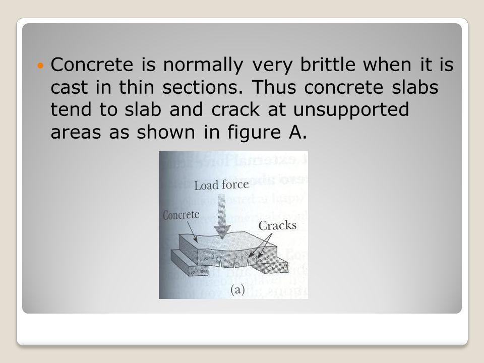 Concrete is normally very brittle when it is cast in thin sections. Thus concrete slabs tend to slab and crack at unsupported areas as shown in figure