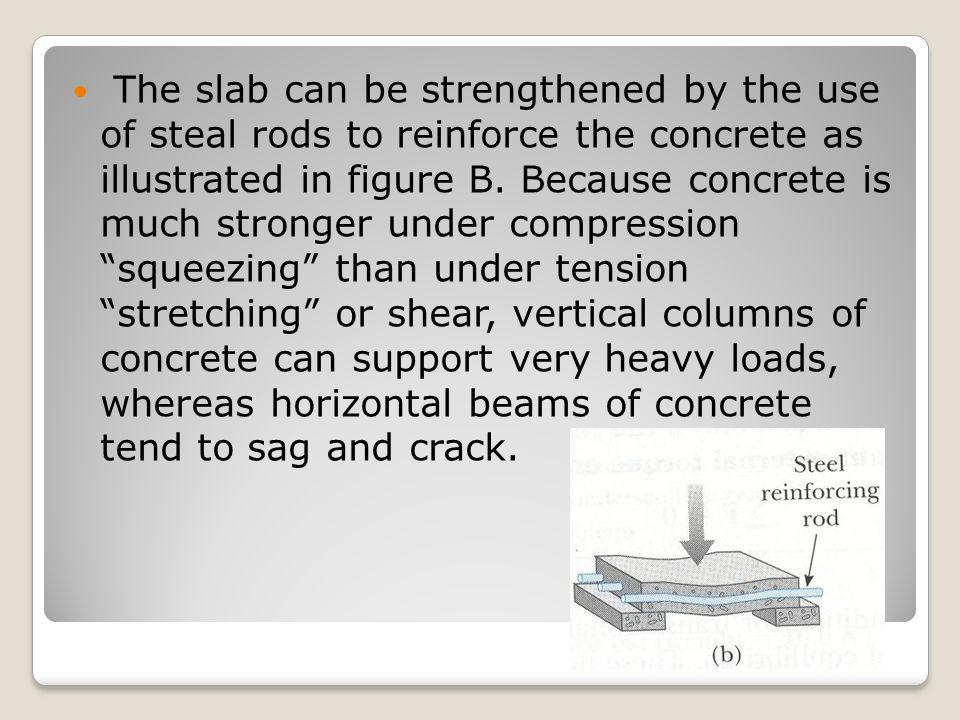 The slab can be strengthened by the use of steal rods to reinforce the concrete as illustrated in figure B. Because concrete is much stronger under co