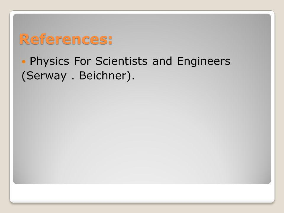 References: Physics For Scientists and Engineers (Serway. Beichner).