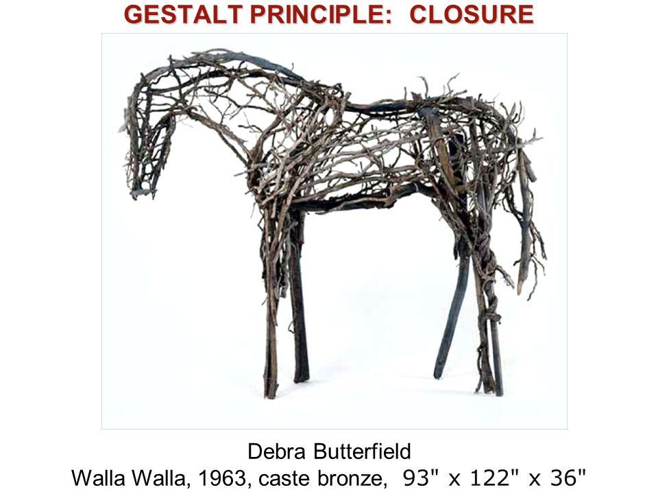 GESTALT PRINCIPLE: CLOSURE Debra Butterfield Walla Walla, 1963, caste bronze, 93