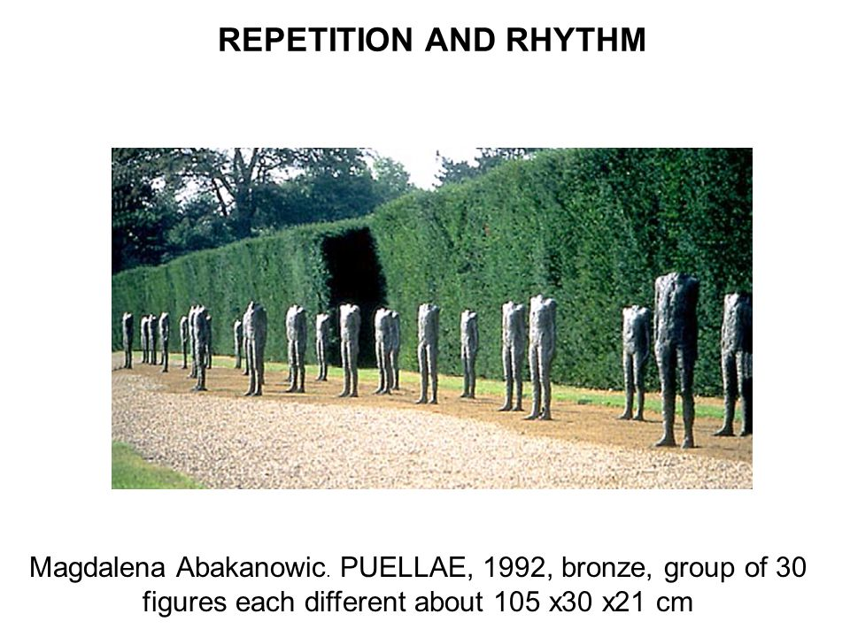 REPETITION AND RHYTHM Magdalena Abakanowic. PUELLAE, 1992, bronze, group of 30 figures each different about 105 x30 x21 cm