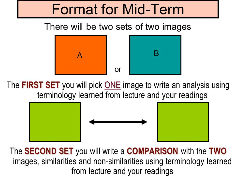 Format for Mid-Term FIRST SET ONE The FIRST SET you will pick ONE image to write an analysis using terminology learned from lecture and your readings