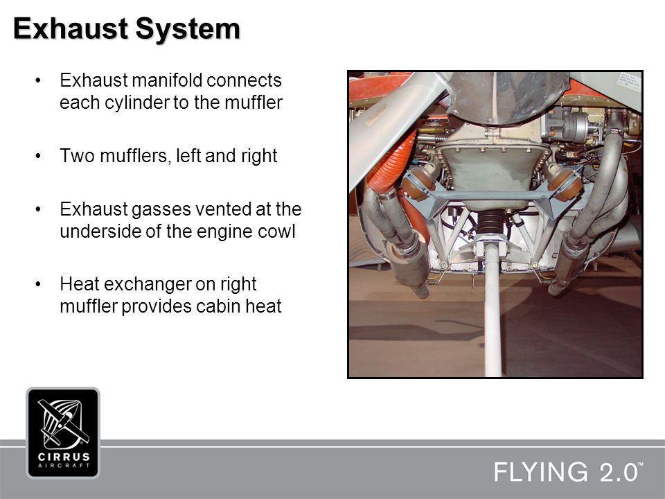 Exhaust System Exhaust manifold connects each cylinder to the muffler Two mufflers, left and right Exhaust gasses vented at the underside of the engine cowl Heat exchanger on right muffler provides cabin heat