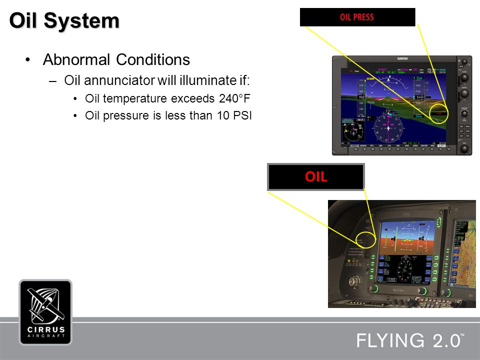 Oil System Abnormal Conditions –Oil annunciator will illuminate if: Oil temperature exceeds 240°F Oil pressure is less than 10 PSI OIL