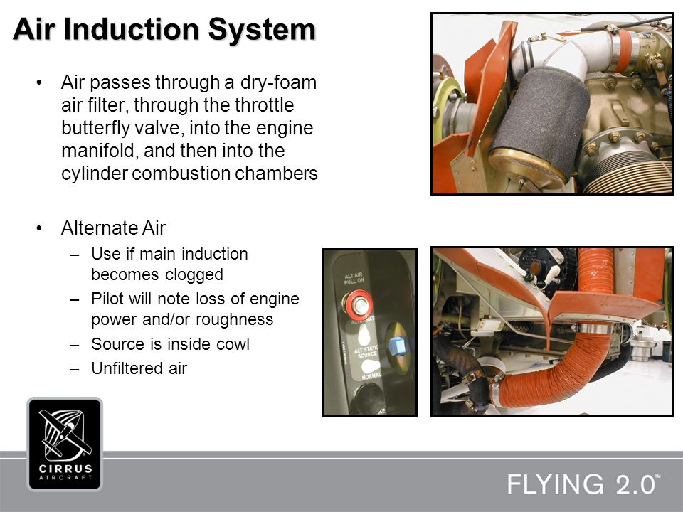 Air Induction System Air passes through a dry-foam air filter, through the throttle butterfly valve, into the engine manifold, and then into the cylinder combustion chambers Alternate Air –Use if main induction becomes clogged –Pilot will note loss of engine power and/or roughness –Source is inside cowl –Unfiltered air