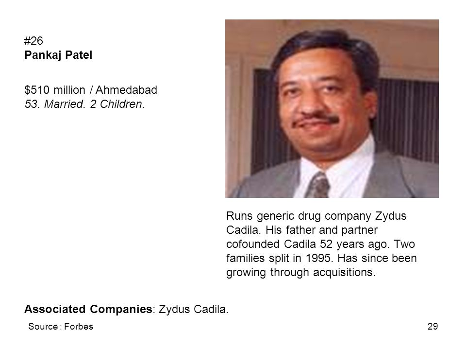 Source : Forbes29 #26 Pankaj Patel $510 million / Ahmedabad 53. Married. 2 Children. Runs generic drug company Zydus Cadila. His father and partner co