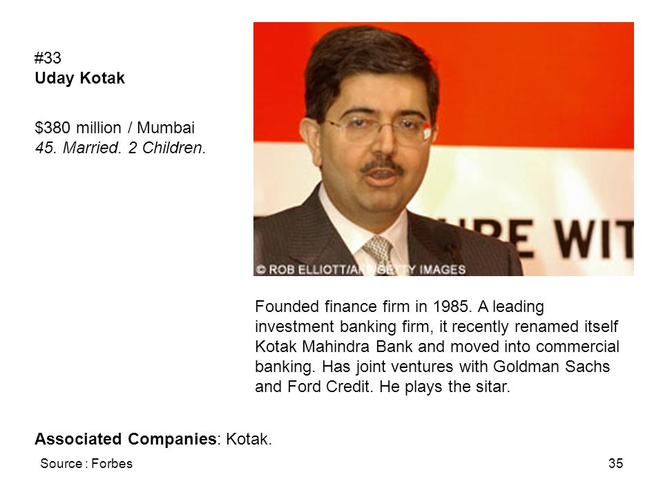 Source : Forbes35 #33 Uday Kotak $380 million / Mumbai 45.