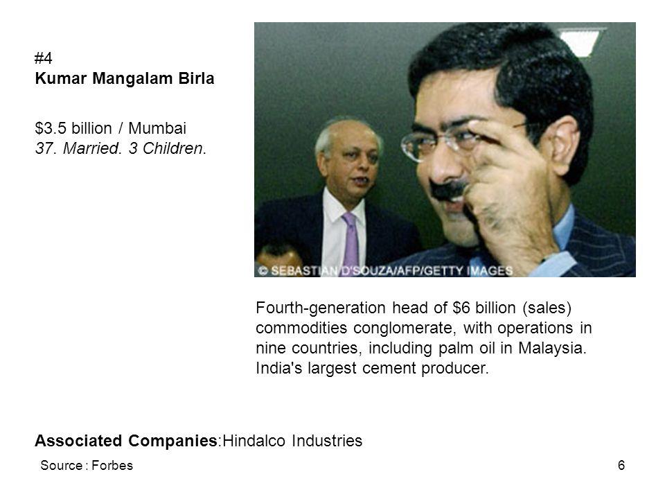 Source : Forbes6 #4 Kumar Mangalam Birla $3.5 billion / Mumbai 37. Married. 3 Children. Fourth-generation head of $6 billion (sales) commodities congl