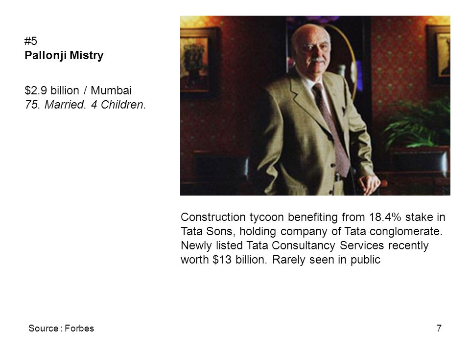 Source : Forbes7 #5 Pallonji Mistry $2.9 billion / Mumbai 75.