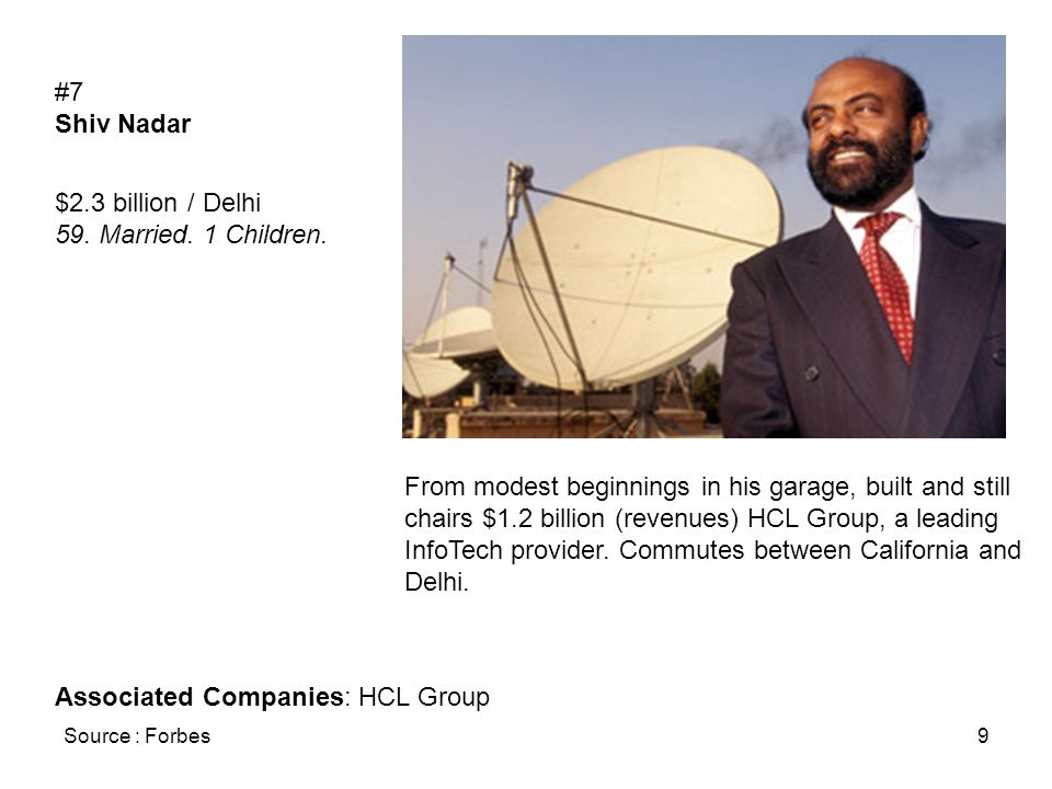 Source : Forbes9 #7 Shiv Nadar $2.3 billion / Delhi 59.