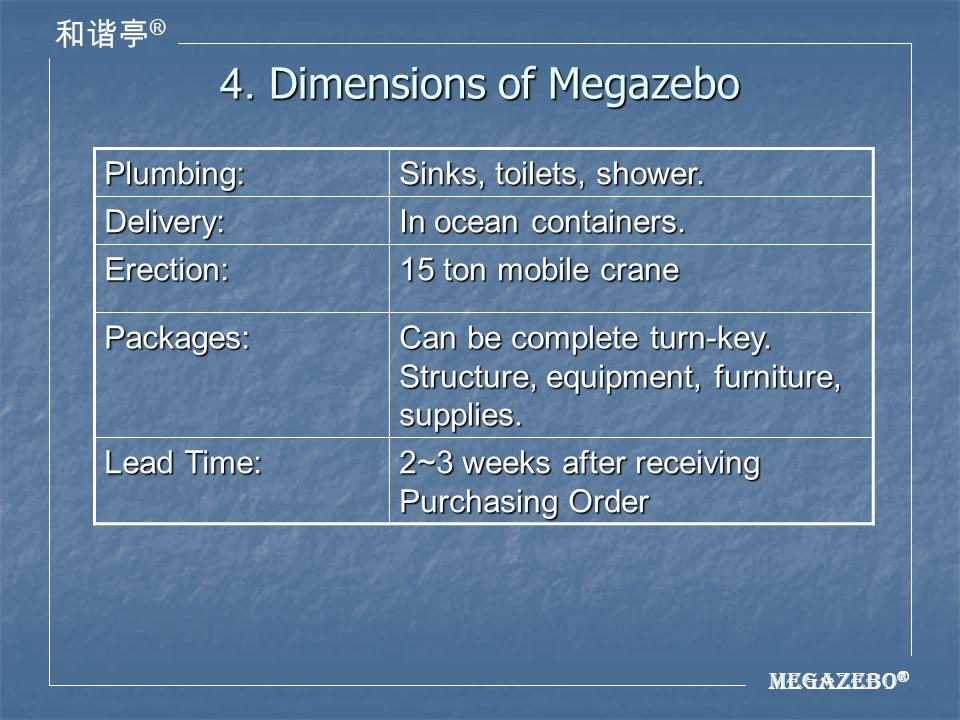 Megazebo ® ® 4. Dimensions of Megazebo Plumbing: Sinks, toilets, shower.