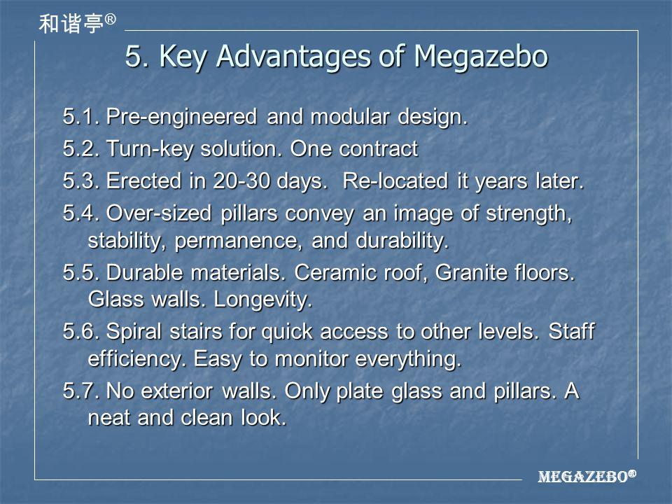 Megazebo ® ® 5. Key Advantages of Megazebo 5.1. Pre-engineered and modular design.