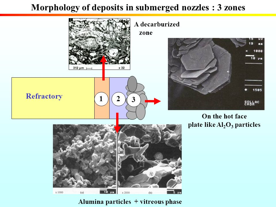Morphology of deposits in submerged nozzles : 3 zones 12 3 Refractory A decarburized zone Alumina particles + vitreous phase On the hot face plate lik