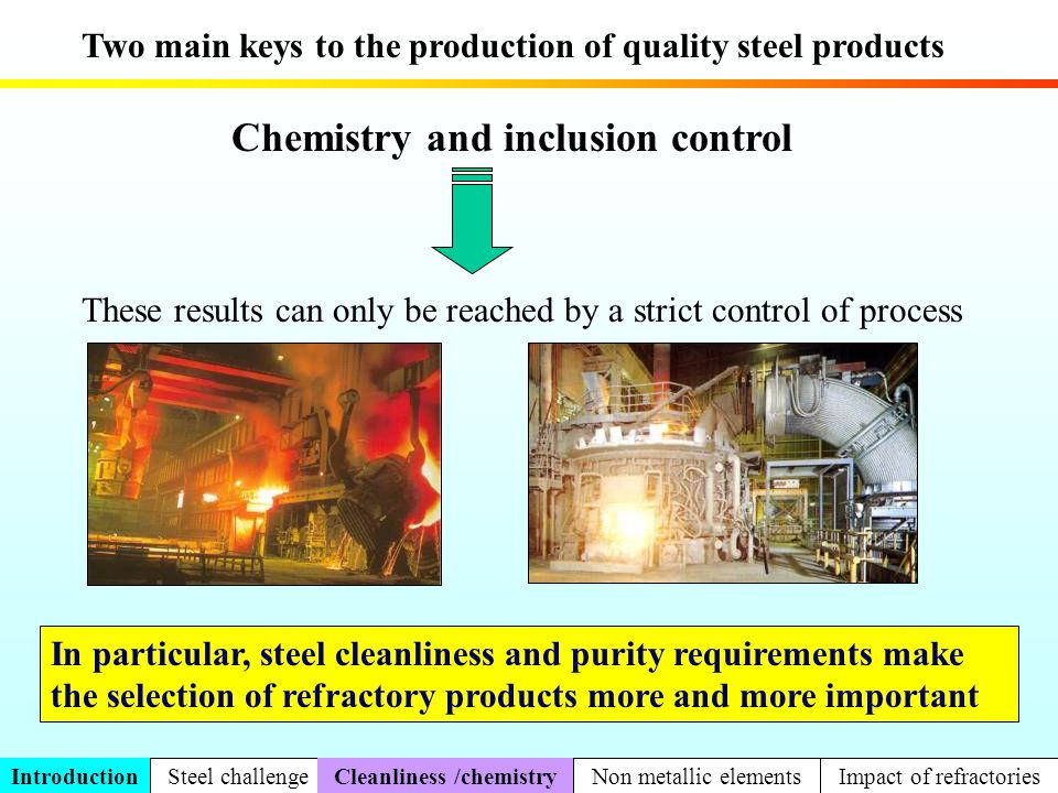 Study of dissolution in laboratory Slag [MgO] = f(t) Steel Saturation solubility of MgO T = 1630°C Dissolution of MgO in MgO-C refractory for different times by CaO-SiO 2 slag MgO Slag/MgO interface 500 m Slag Part 2 Dissolution VolatilizationOxydo-reduct.Carbo-reductionNew compoundsMetallurgical impact
