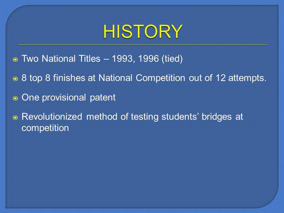 Two National Titles – 1993, 1996 (tied) 8 top 8 finishes at National Competition out of 12 attempts.