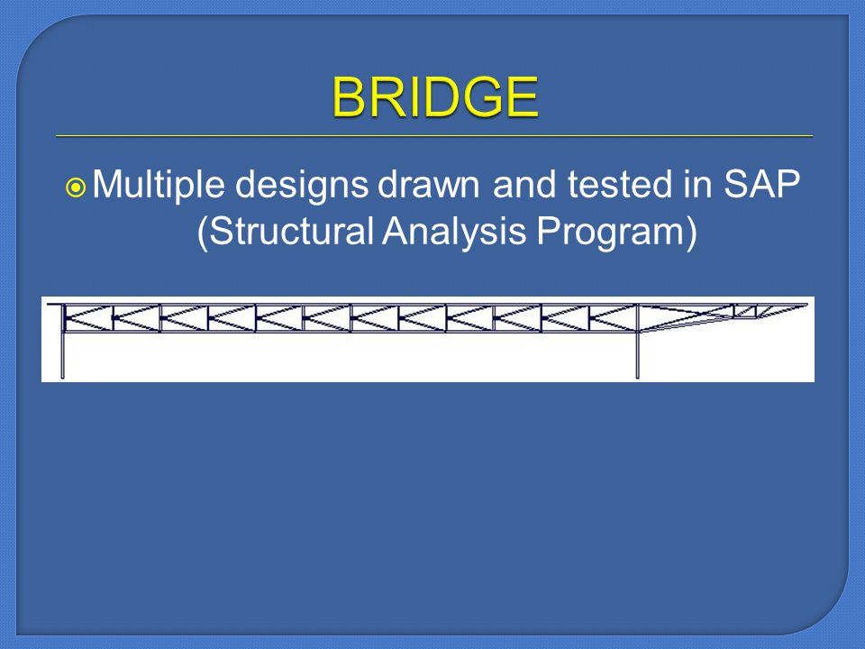 Multiple designs drawn and tested in SAP (Structural Analysis Program)