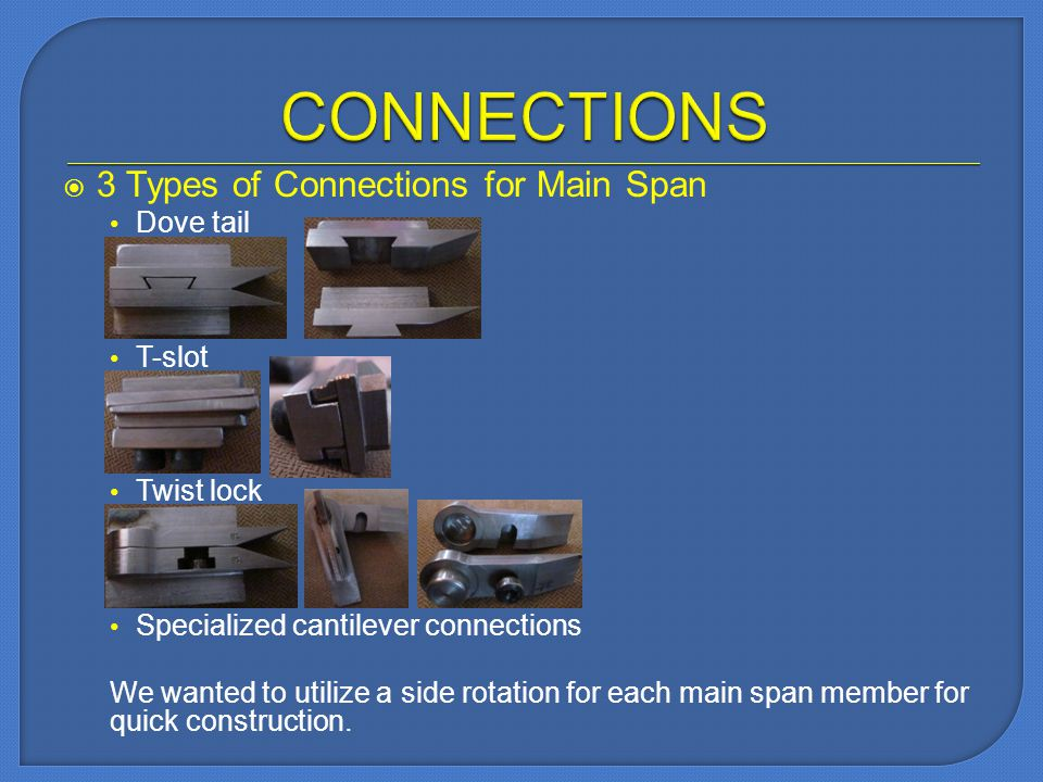 3 Types of Connections for Main Span Dove tail T-slot Twist lock Specialized cantilever connections We wanted to utilize a side rotation for each main span member for quick construction.