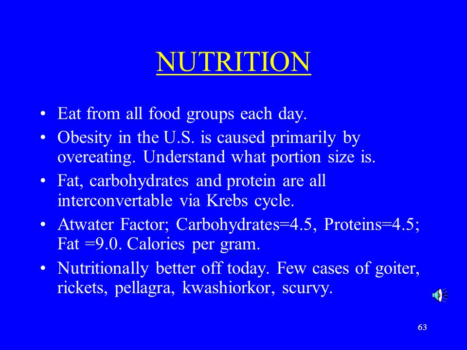 63 NUTRITION Eat from all food groups each day.Obesity in the U.S.