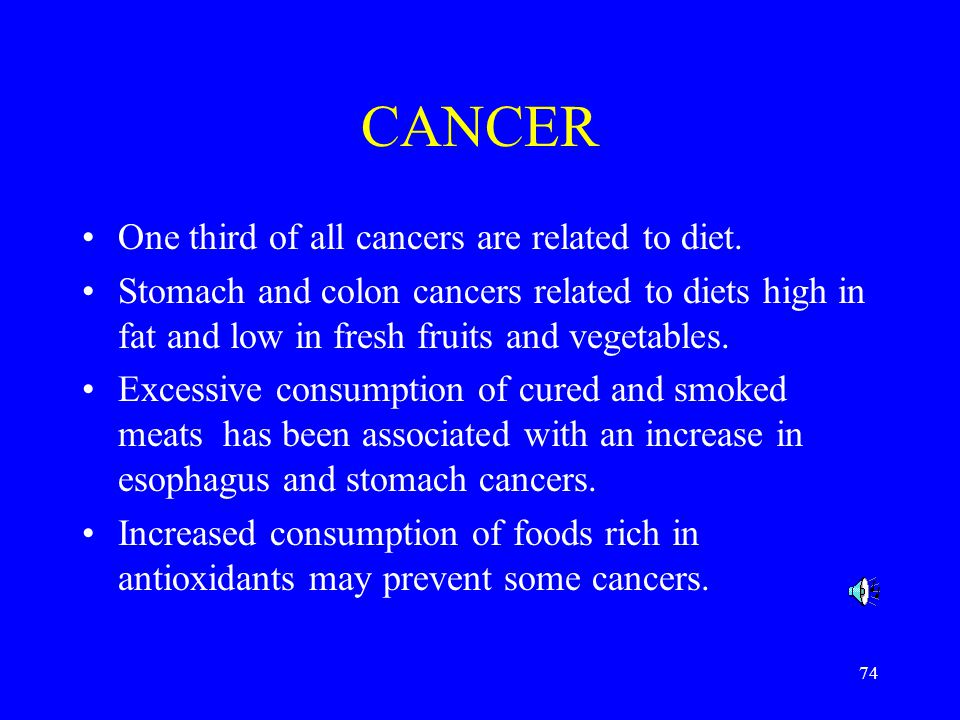 74 CANCER One third of all cancers are related to diet.