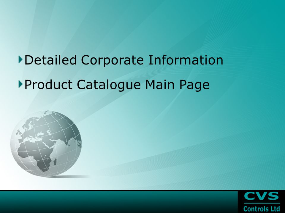 Product Catalogue Main Page Detailed Corporate Information