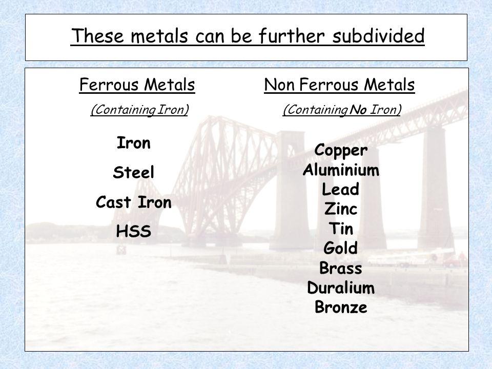 These metals can be further subdivided Ferrous Metals Non Ferrous Metals (Containing Iron) (Containing No Iron) Iron Steel Cast Iron HSS Copper Aluminium Lead Zinc Tin Gold Brass Duralium Bronze